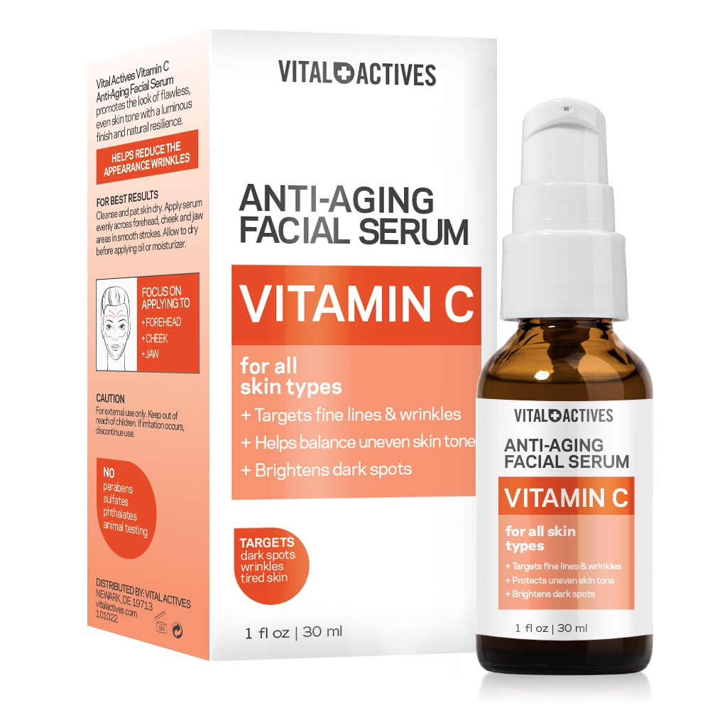 vital actives anti aging vitamin c facial serum 1oz 30ml. Black Bedroom Furniture Sets. Home Design Ideas