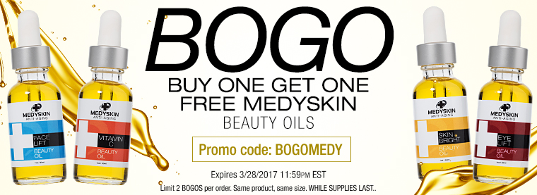 Buy 1, Get 1 Free Medyskin Beauty Oils with code BOGOMEDY