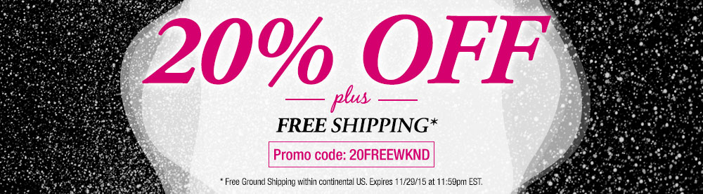 Save 20% off sitewide and get free shipping too!