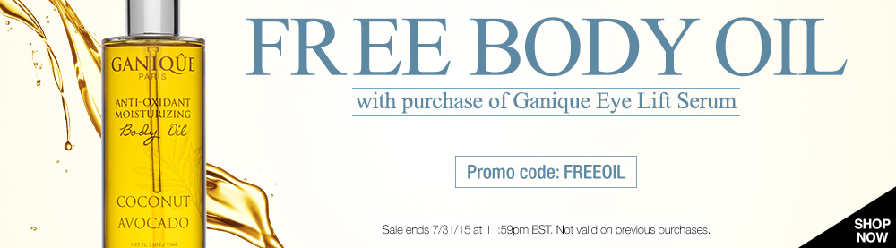 Free full size body oil with purchase of Ganique Eye Lift Serum