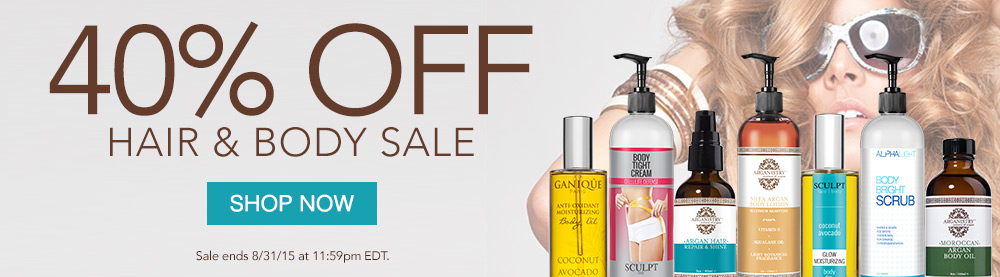 Save 40% on all hair and body products